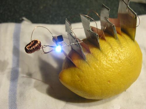 Joule Thief lemon battery lighting LED
