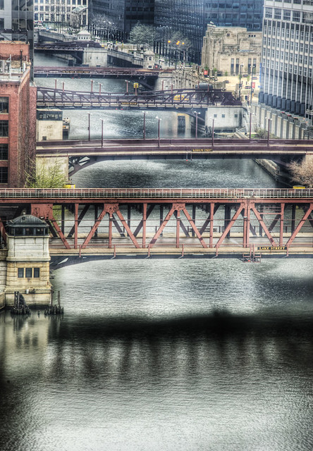 Chicago_HDR Moving Bridges over the South Branch of the Chicago River