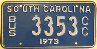SOUTH CAROLINA 1973 ---BUS LICENSE PLATE