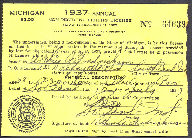 1937 michigan non resident fishing license flickr for Michigan non resident fishing license