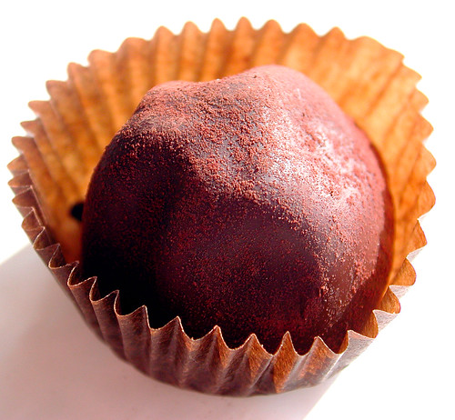 A single perfect chocolate truffle
