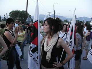 Kommunistische Gewerkschafterin bei einer Demonstration 2008. Foto: Andreas Kontokanis (CC BY 2.0)