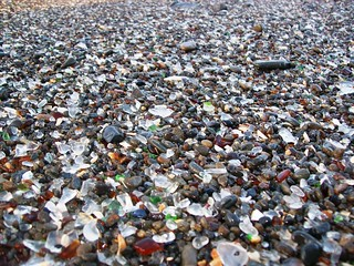 Close-up view of the glass mixed with the sand and gravel at Glass Beach, CA (glassbeach38xy)