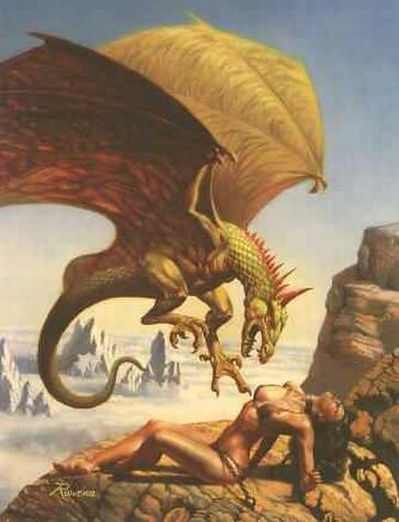 Erotic Fantasy Art dragon - attacking nude woman (Boris Vallejo)