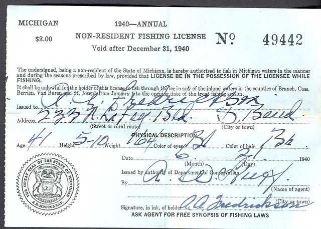 1940 michigan non resident fishing license flickr for Michigan non resident fishing license