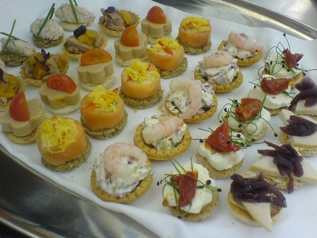 Canapes a photo on flickriver for Smoked salmon roulade canape