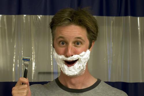 selfportrait goofy bathroom shower smiley shaving maintenance shave crazyhair foamy stubble shavingcream superserious