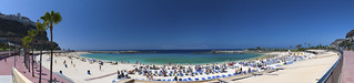 Imagine de Playa de las Pimientas. blue panorama white beach island sand angle wide playa canarian