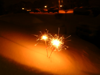 sparklers in the snow