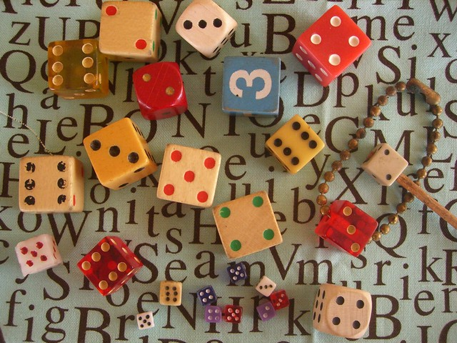 flea Market Find Dice Collection for Assemblage