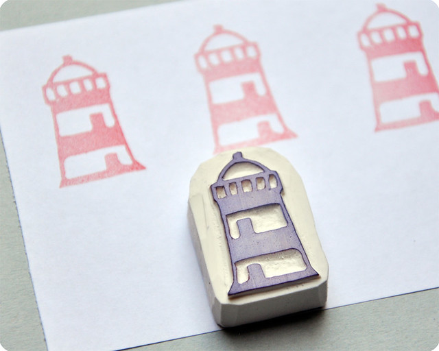 Lighthouse hand carved rubber stamp flickr photo sharing
