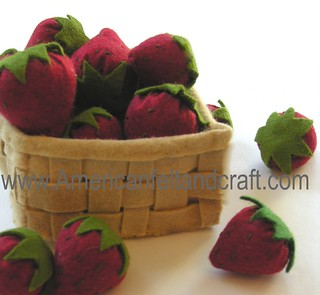 Felt Food Strawberries in a basket