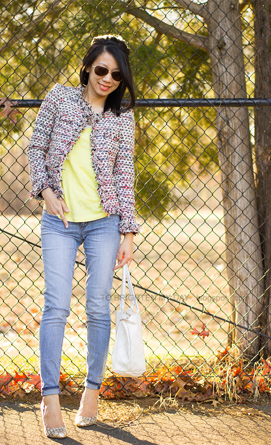 tweed jacket, yellow tee, jeans, tweed + glitter pumps