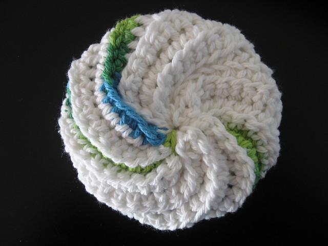 Crochet Patterns Only Spiral Scrubbie : Spiral Scrubbie blue, gree Flickr - Photo Sharing!