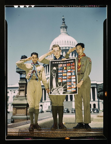 United Nations Fight for Freedom : colored, white and Chinese Boy Scouts in front of Capitol, They help out by delivering poster to help the war effort  (LOC)
