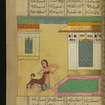 Illuminated Manuscript, Collection of poems (masnavi), Majnūn feeds a dog in the vicinity of Laylá's house, Walters Art Museum Ms. W.626, fol. 108a