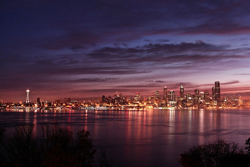 seattle longexposure night sunrise washington cityscape alki spaceneedle hamiltonviewpointpark davidhogan