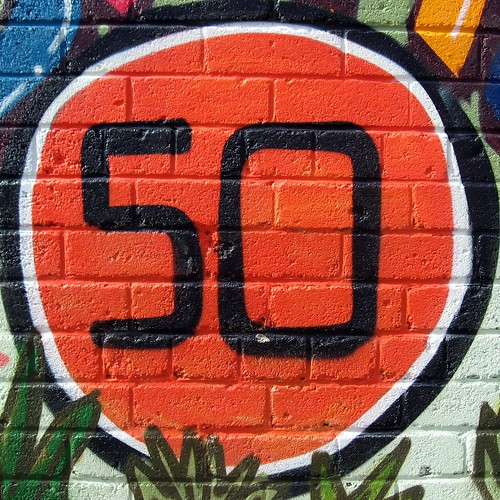 Number 50 painted on a wall