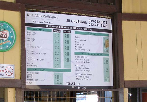 Menu with prices in the Kluang Station Kopitam