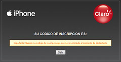 Confirmación de inscripcion en Claro Chile para iPhone