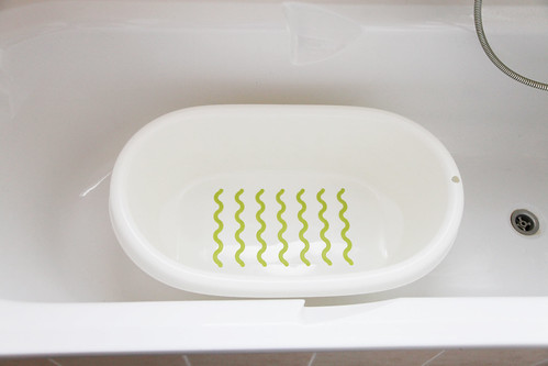 ikea baby bath plastic white green lines anti-slip stripes safety cheap