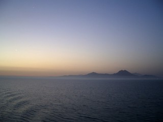Bourkonine Mountains and Gulf of Tunis at sunrise