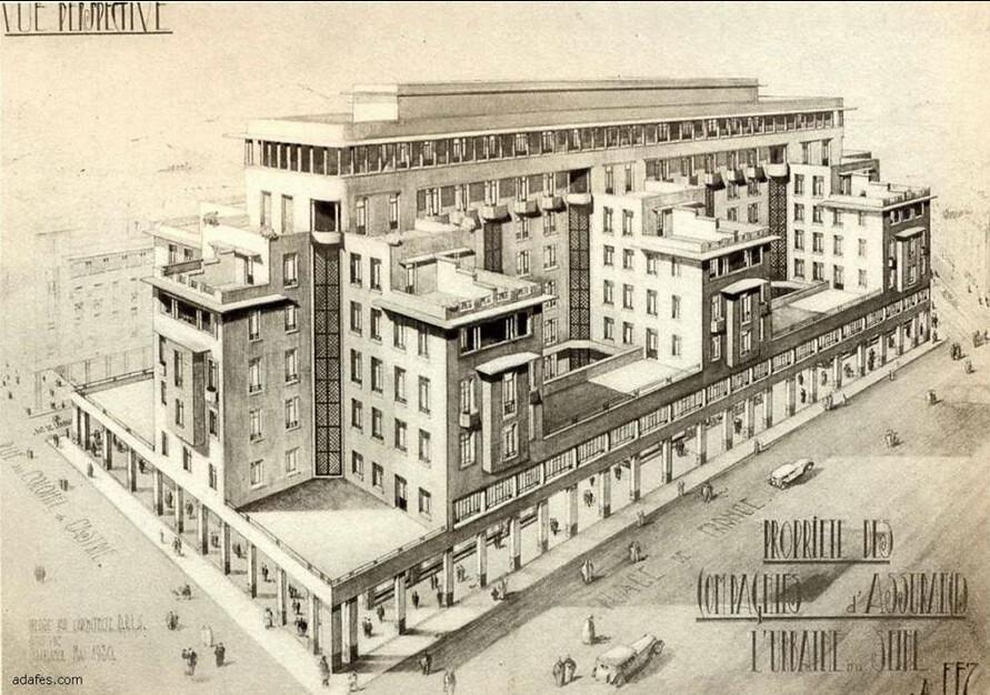 Dessin d'architecte d'un immeuble de la Nouvelle Ville de Fès.