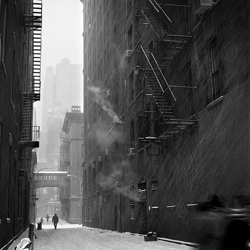 Blizzard in Alleyway, Downtown NYC