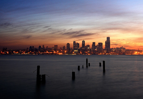 seattle sunrise washington cityscape waterfront alki pugetsound pilings elliottbay davidhogan