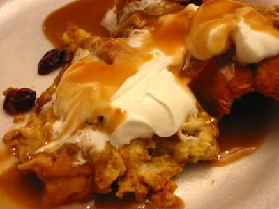 Dulcedo: pumpkin bread pudding with praline sauce
