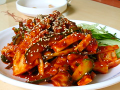 meat(0.0), sweet and sour(0.0), produce(0.0), tteokbokki(0.0), side dish(1.0), sweet and sour pork(1.0), kung pao chicken(1.0), general tso's chicken(1.0), food(1.0), dish(1.0), cuisine(1.0), teriyaki(1.0),