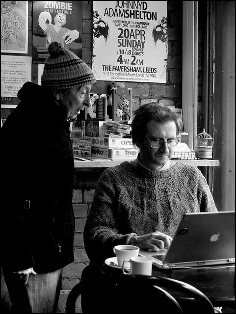 In a cafe corner