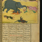 Illuminated Manuscript, Collection of poems (masnavi), A mother elephant crushes to death the men who killed her cub and ate its meat, Walters Art Museum Ms. W.626, fol. 103b