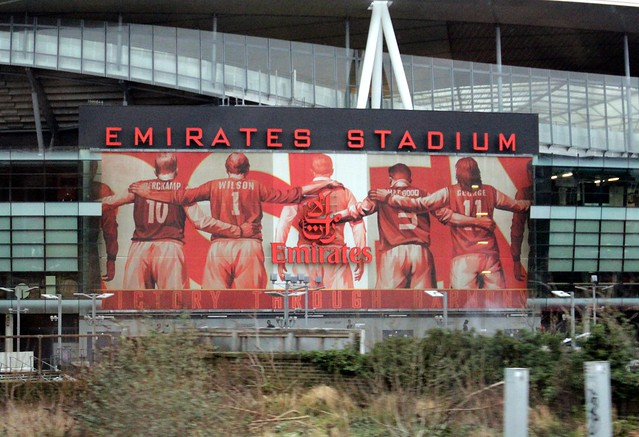 Emirates stadium 39 legends of arsenal 39 mural flickr for Emirates stadium mural