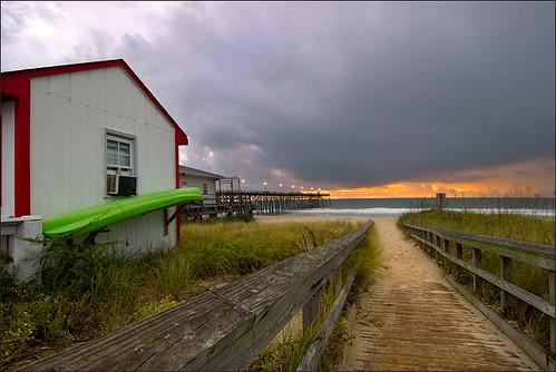 sky storm beach clouds sunrise canon pier nc 30d kurebeach tokina1224f4 aplusphoto robotography robovercashphotography