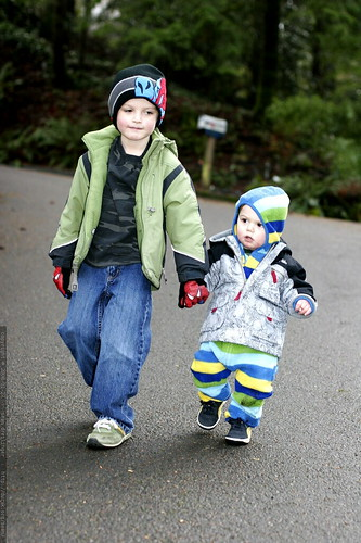 nick, holding hands and showing his little brother how to walk down a steep hill    MG 9316