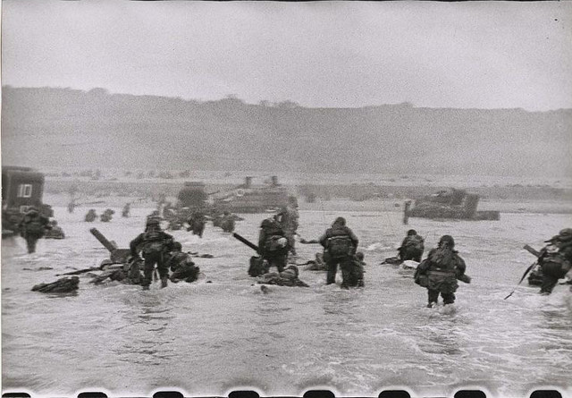 American soldiers landing on Omaha Beach, D-Day, Normandy, France, by Robert Capa