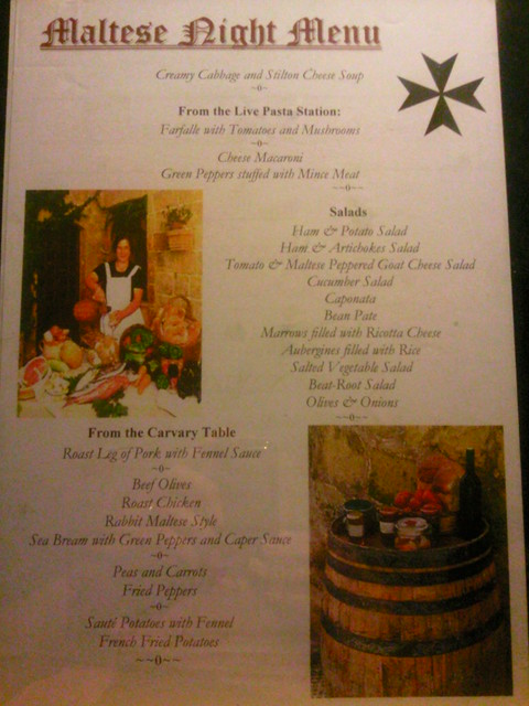 Soreda Hotel Maltese Night menu