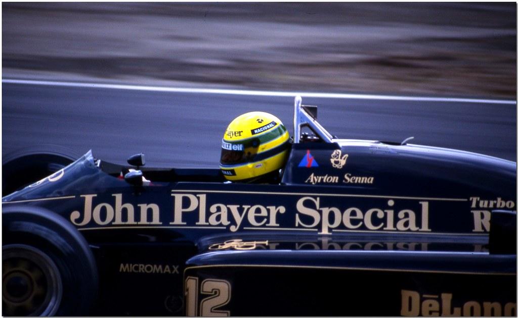 Ayrton Senna JPS Lotus Renault 98T F1. Brands Hatch 1986.(Explore)