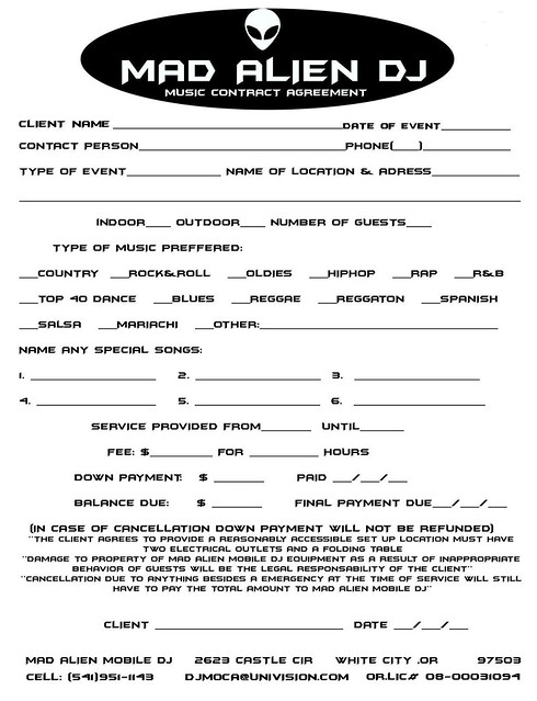 mobile dj contract template - dj contracts sample mobile dj service entertainment