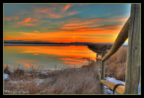 sunset sky water sunrise fence bay utah hdr highdynamicrange relfection farmington bobwillbanks