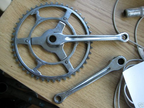 A cottered bicycle crank set.