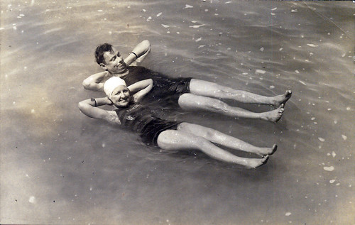 Pair in water at beach
