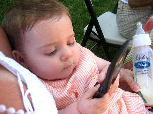 Checking her messages