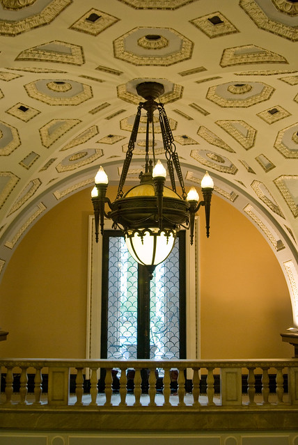 Foyer Lighting Qld : Brisbane city hall lights and decorated ceiling in the