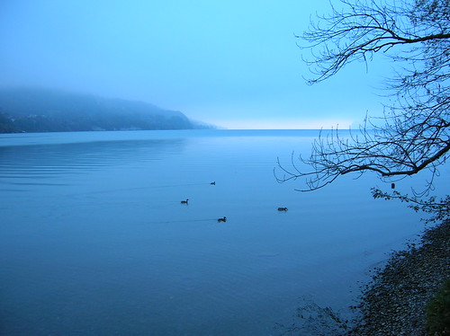 Blue early morning misty waters in Interlaken in Switzerland