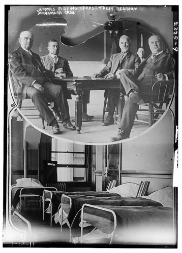 Jurors playing cards - their bedroom McNamara case  (LOC)