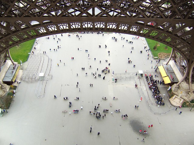 Eiffel Tower looking down from first level