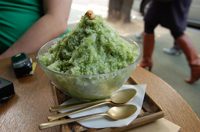green tea shaved ice, red buried in there