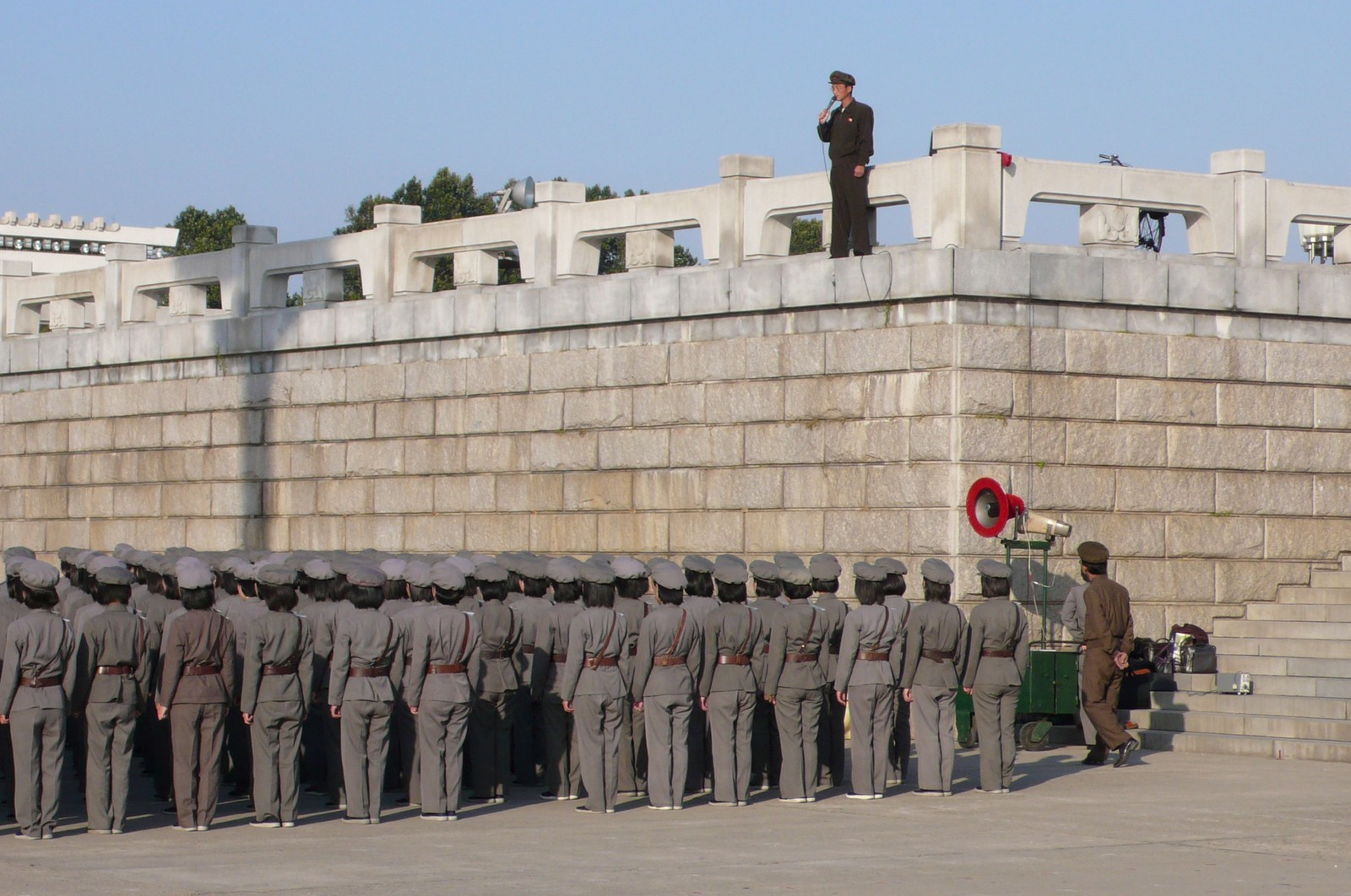 Young women at drill, Pyongyang